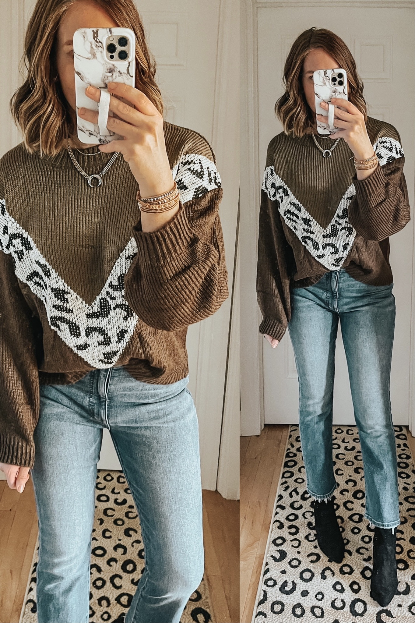 Cozy Winter Outfits from Amazon, animal print chevron sweater