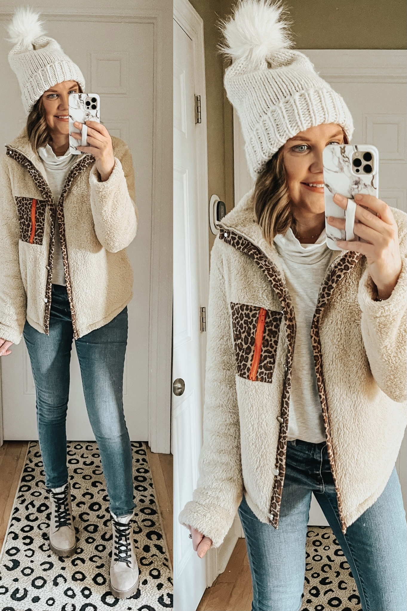 Cozy Winter Outfits from Amazon, sherpa jacket with leopard accents