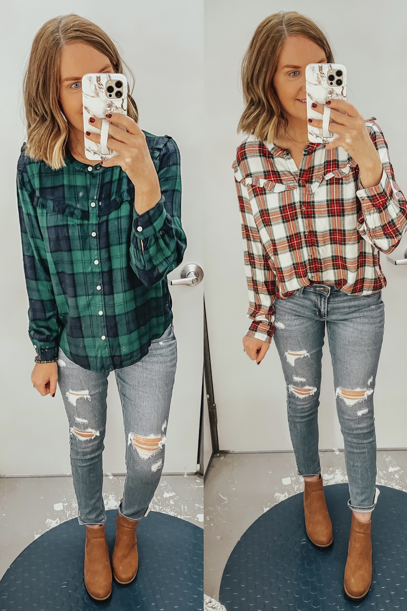 plaid shirt with ruffle, Christmas outfit idea, holiday plaid