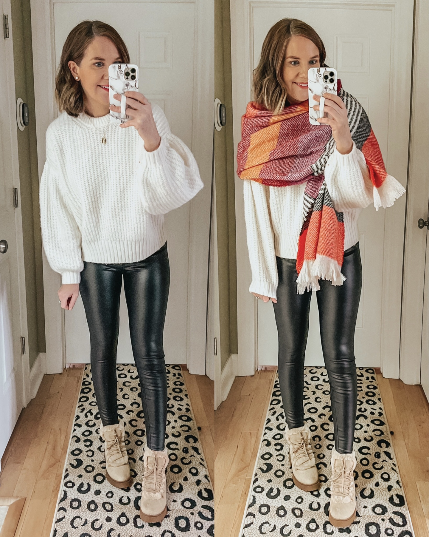2020 TARGET WINTER FASHION PREVIEW, balloon sleeve sweater, blanket scarf, faux leather leggings