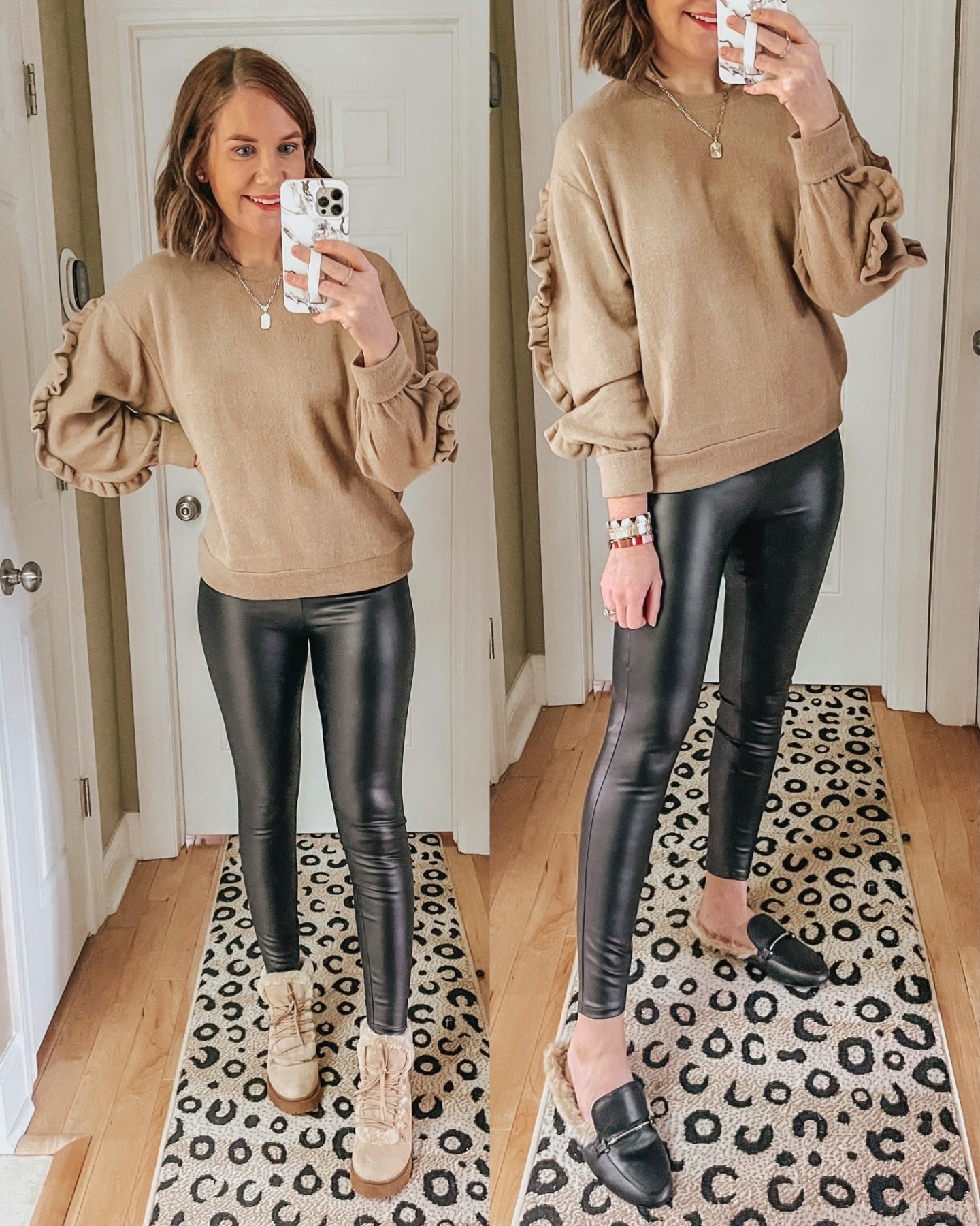 2020 TARGET WINTER FASHION PREVIEW, faux leather lined leggings, ruffle sleeve sweatshirt
