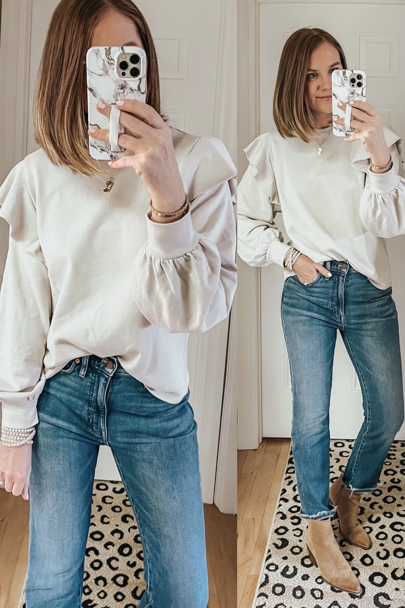 Target Outfits You Need This Winter, off white ruffle sweatshirt, Universal Thread ruffle sweatshirt