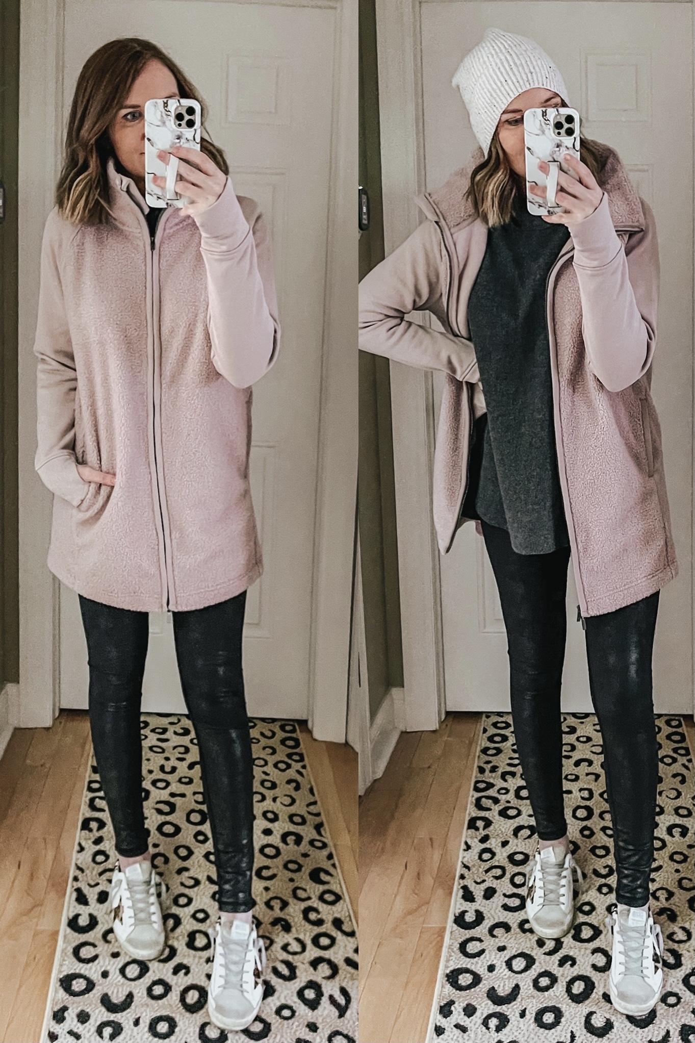 Target athleisure jacket, pink fleece jacket, longline fleece jacket, all in motion