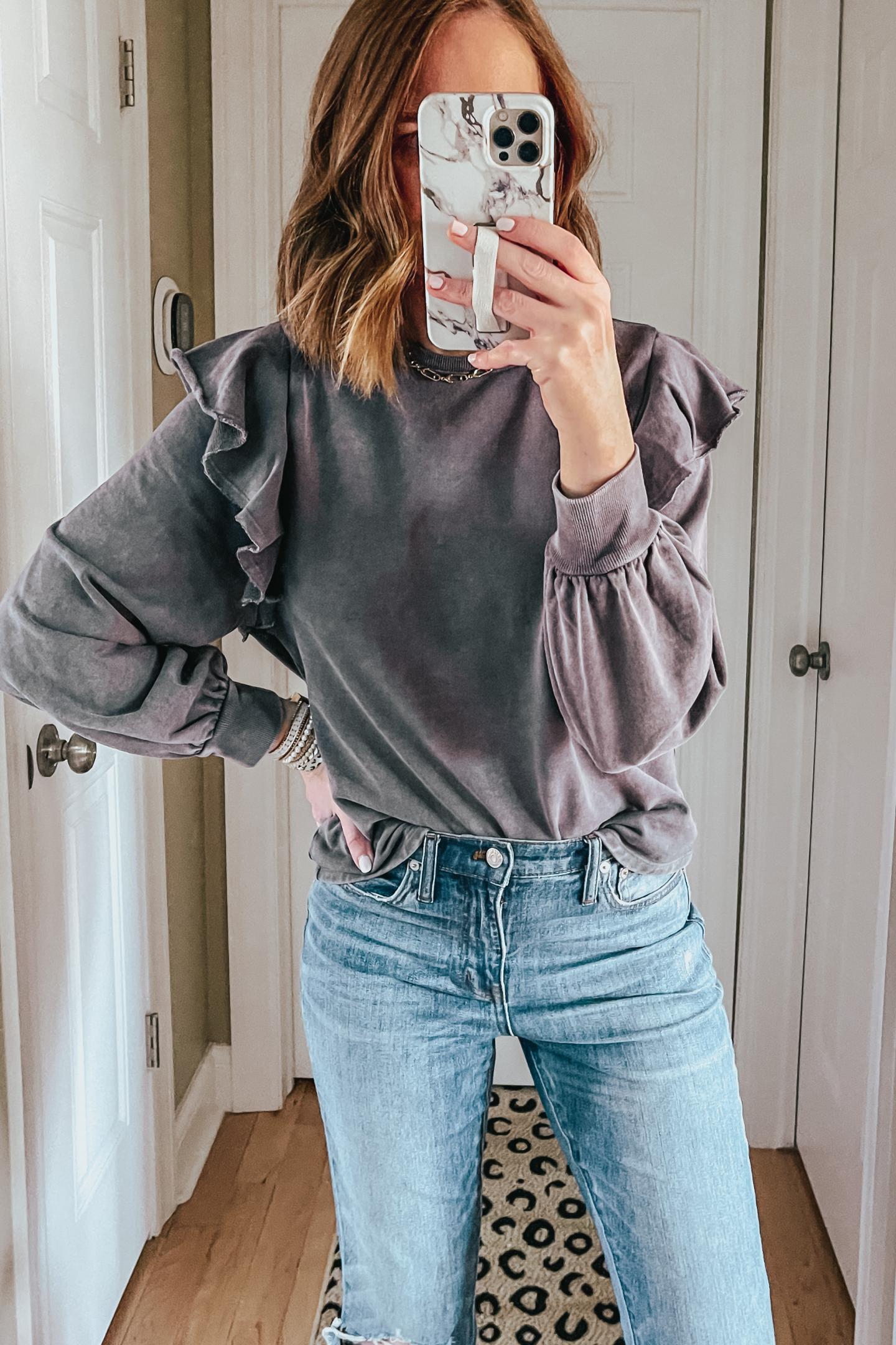 Target Outfits You Need This Winter, acid washed ruffle sweatshirt, grey ruffle sweatshirt