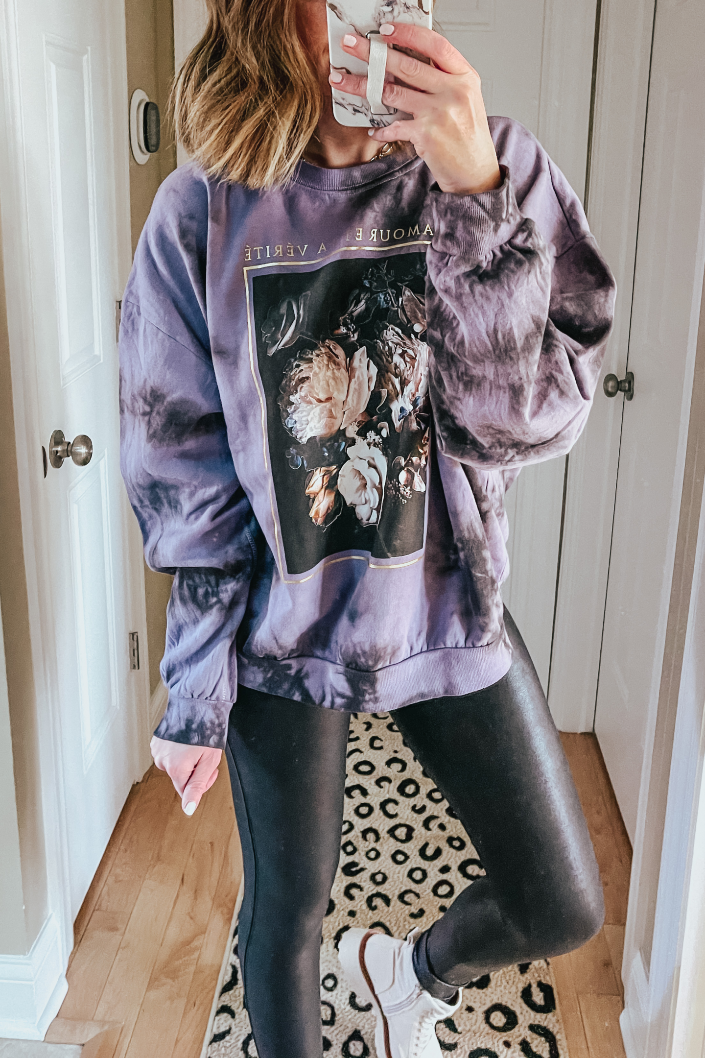 Target Outfits You Need This Winter, tie dye graphic sweatshirt, purple tie diet, off white combat boots, faux leather leggings