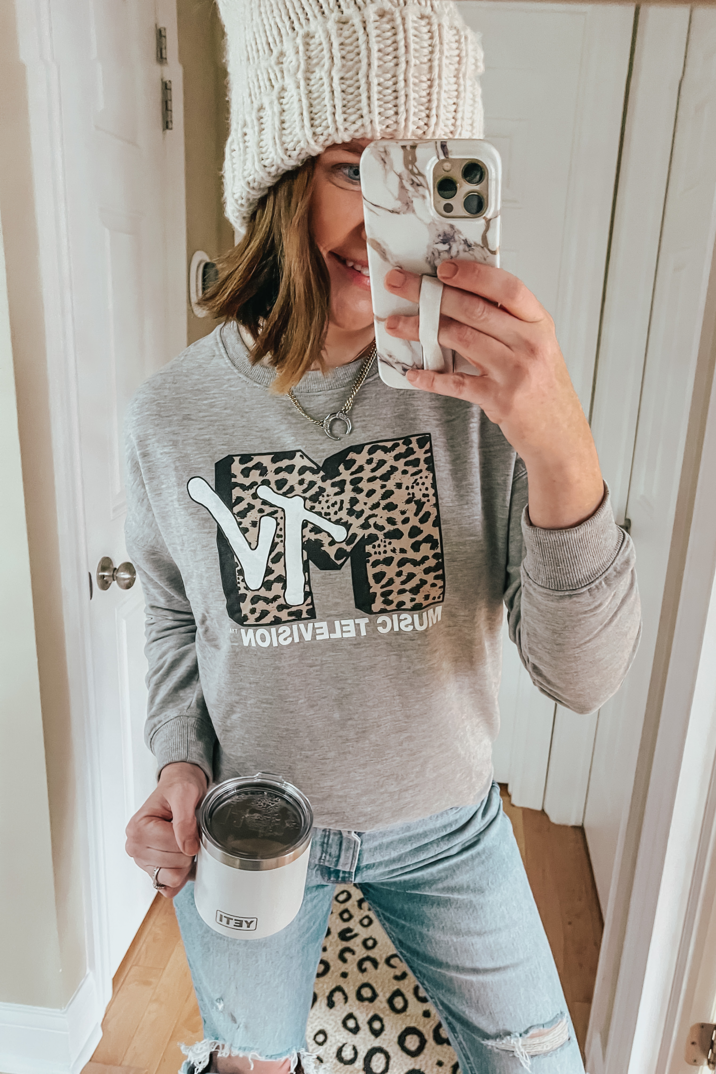 leopard MTV graphic sweatshirt