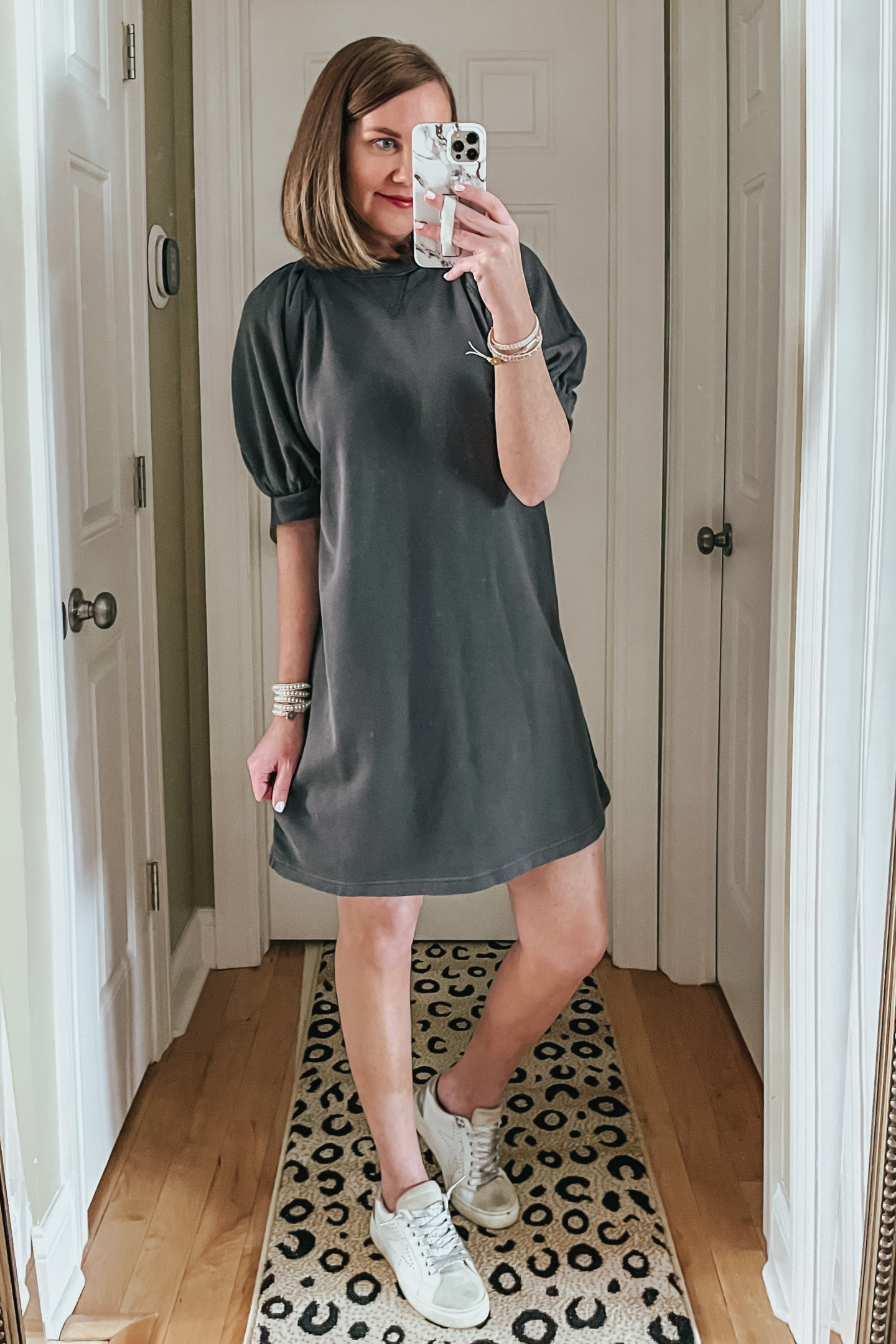 grey puff sleeve sweatshirt dress