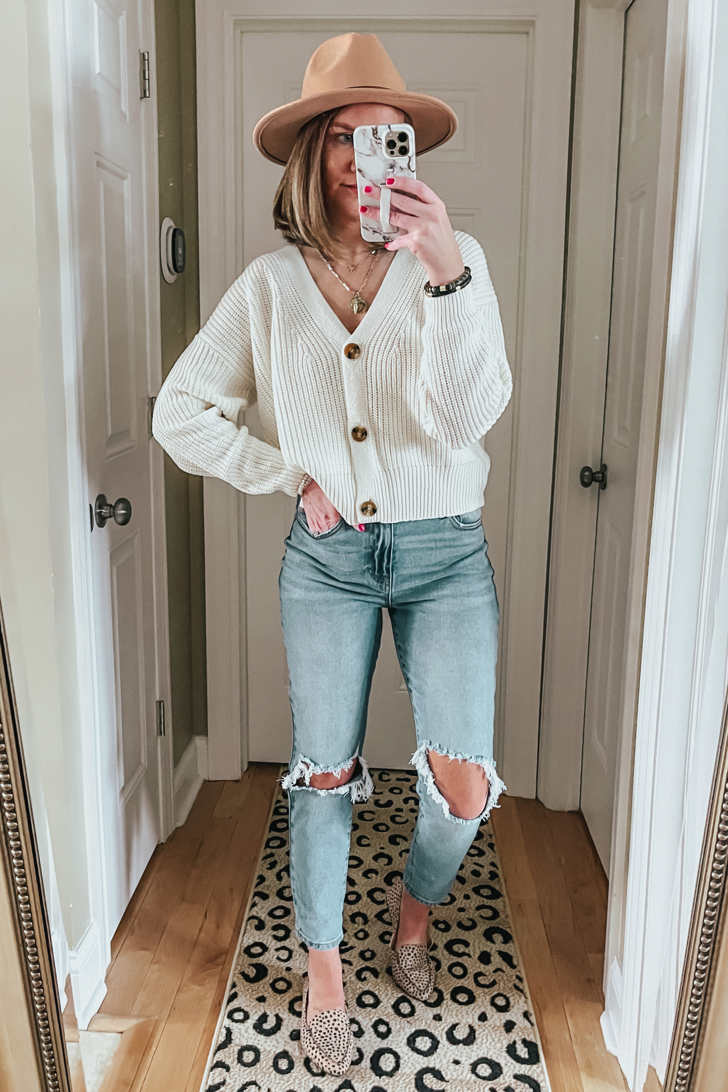 the best Walmart jeans, cropped cardigan, cheetah flats