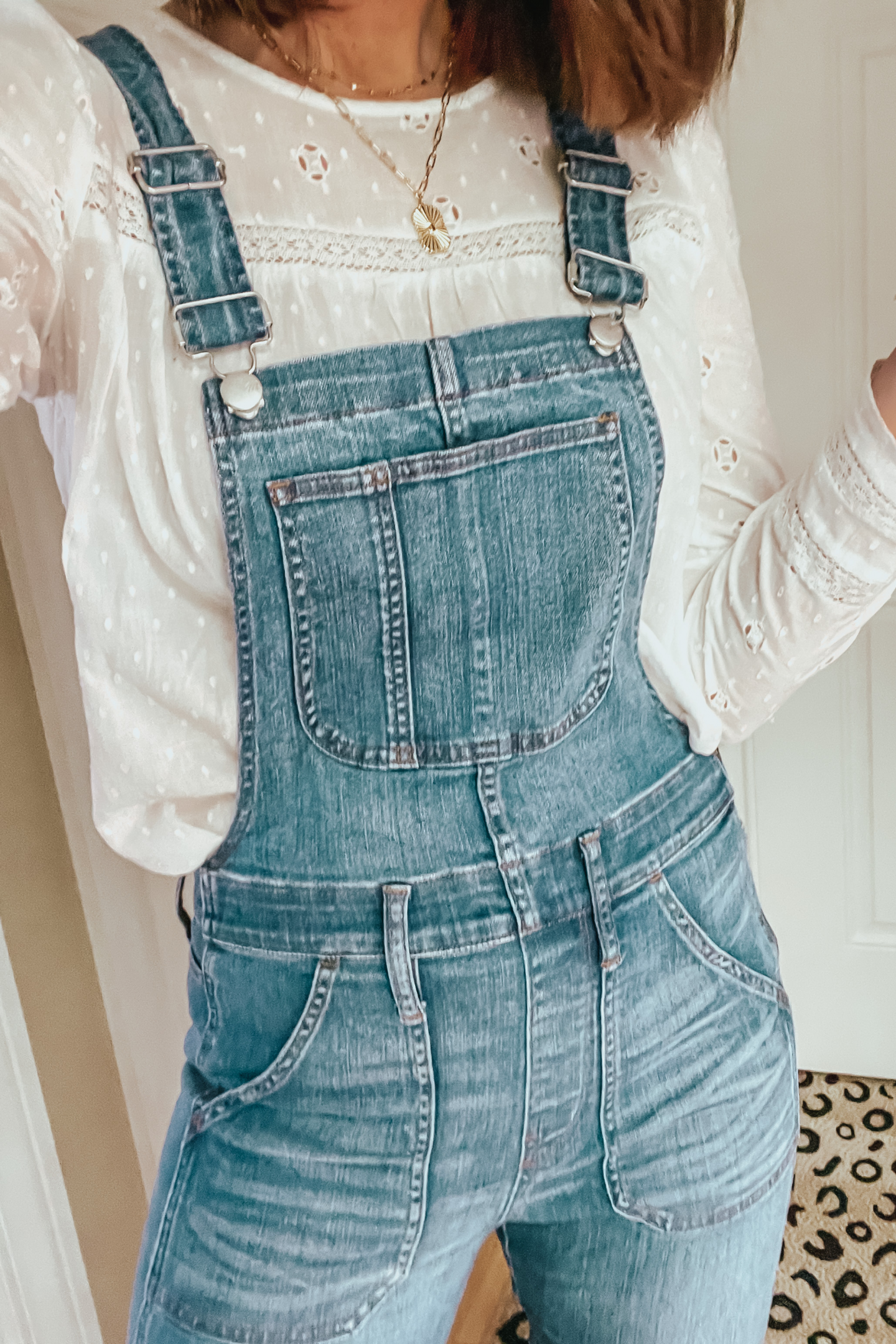 overalls over 40. over 40 outfit, boho blouse, lace blouse, eyelet blouse