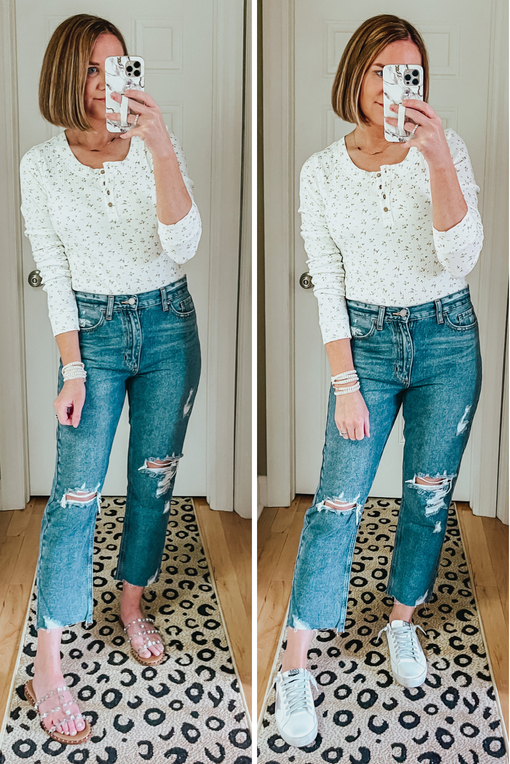 Six Red Dress Boutique Spring Favorites, ditsy floral full coverage bodysuit, mom jeans