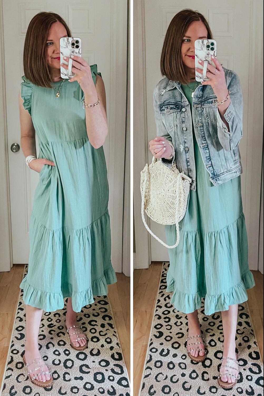 Spring and Summer Dresses Under $35, Target ruffle tiered midi dress, versatile dress, wedding guest dress