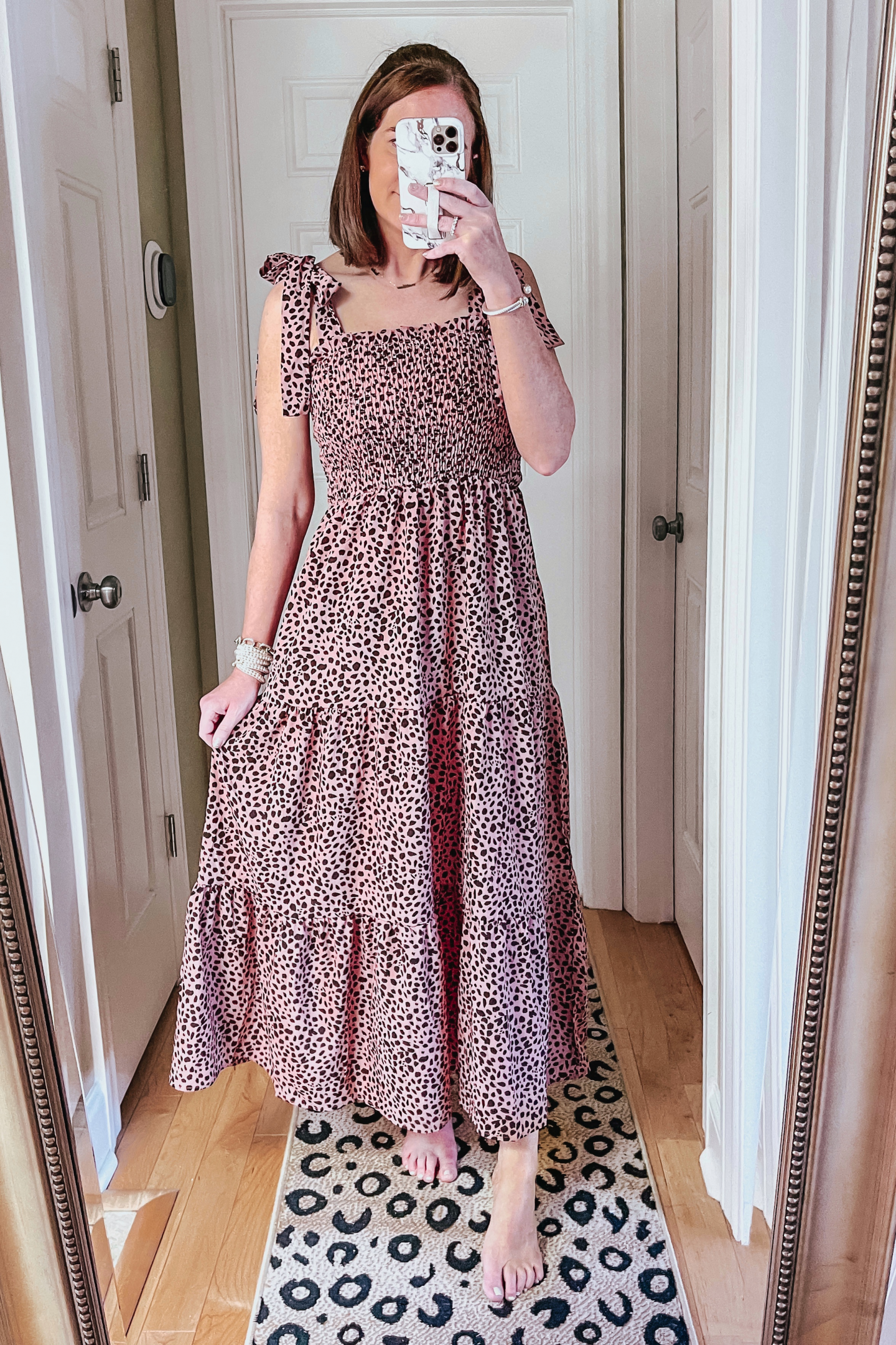 Spring and Summer Dresses Under $35, blush leopard tiered maxi dress wtih smocking and tie shoulders, summer dress, wedding guest dress