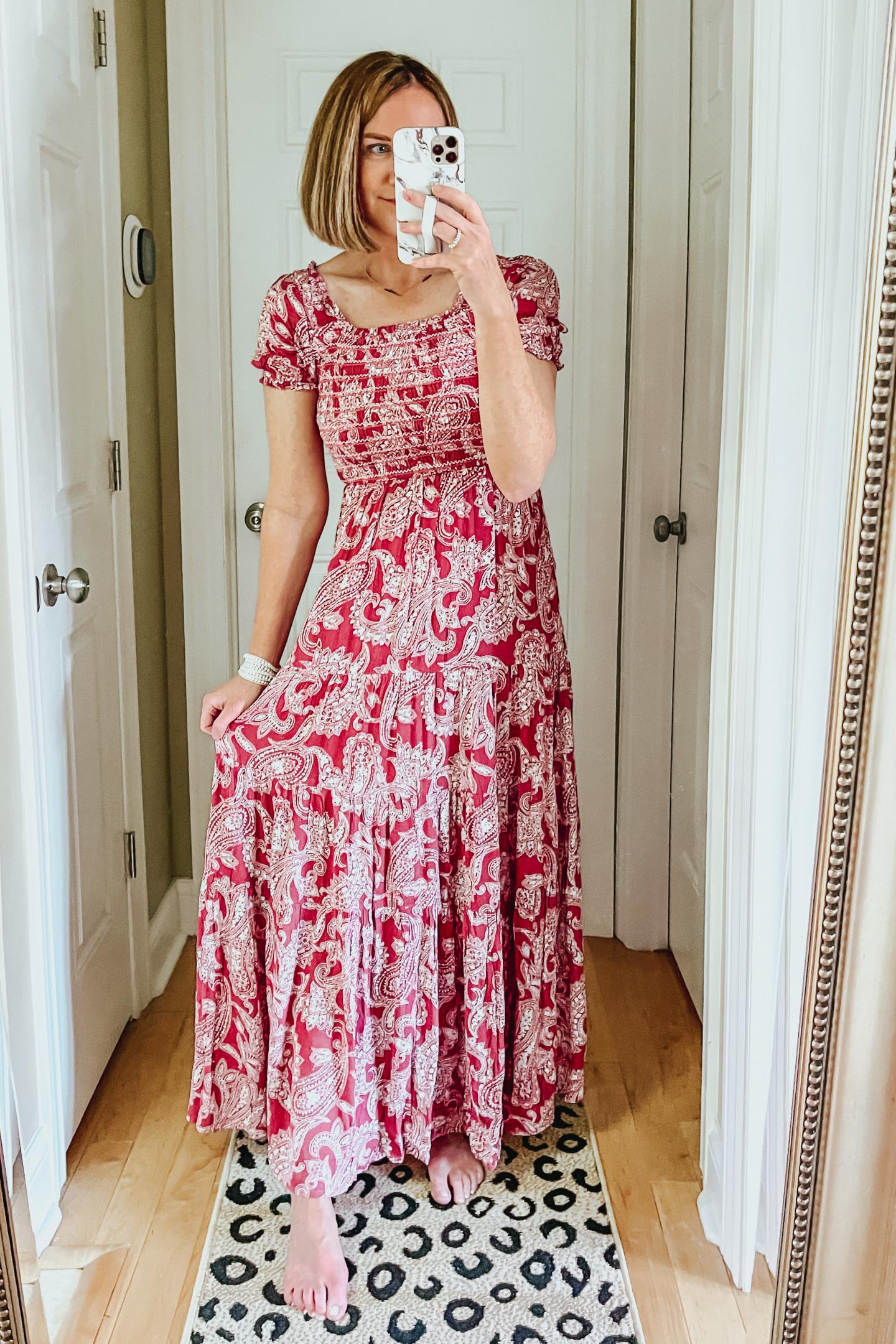 smocked floral maxi dress, off shoulder maxi dress, perfect maxi dress, Six Red Dress Boutique Spring Favorites