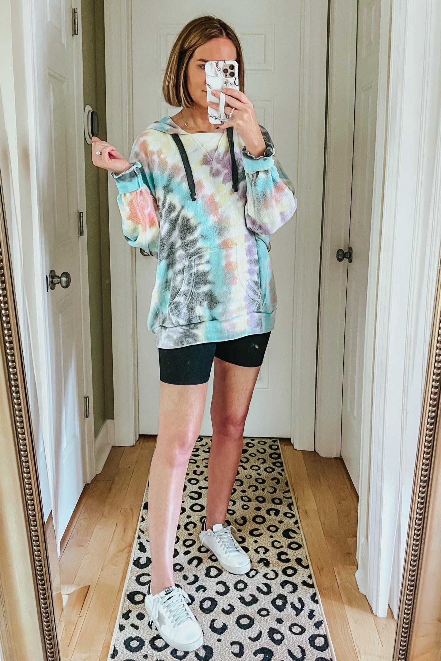 inside out tie dye hoodie, lounge bike shorts