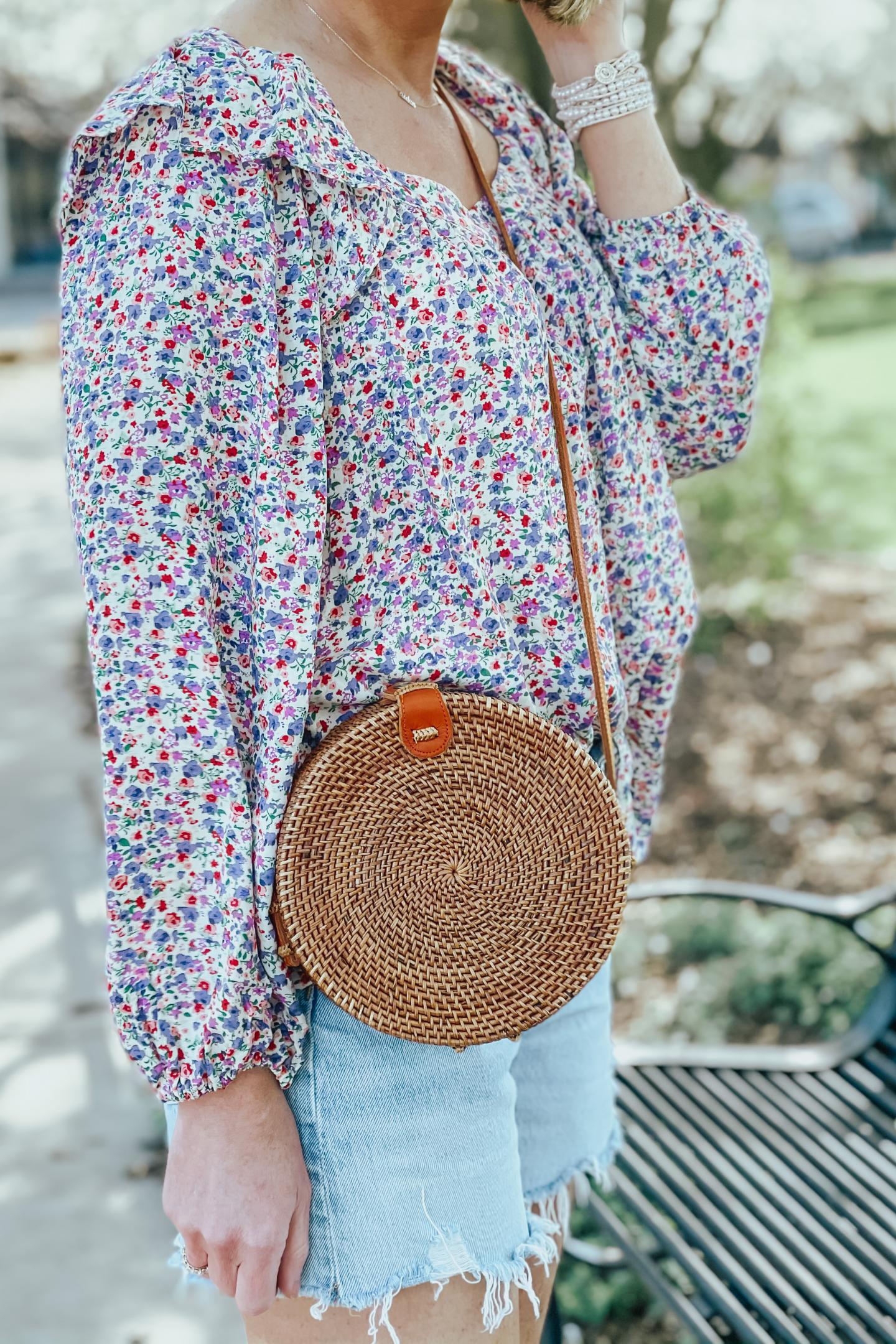round woven crossbody bag