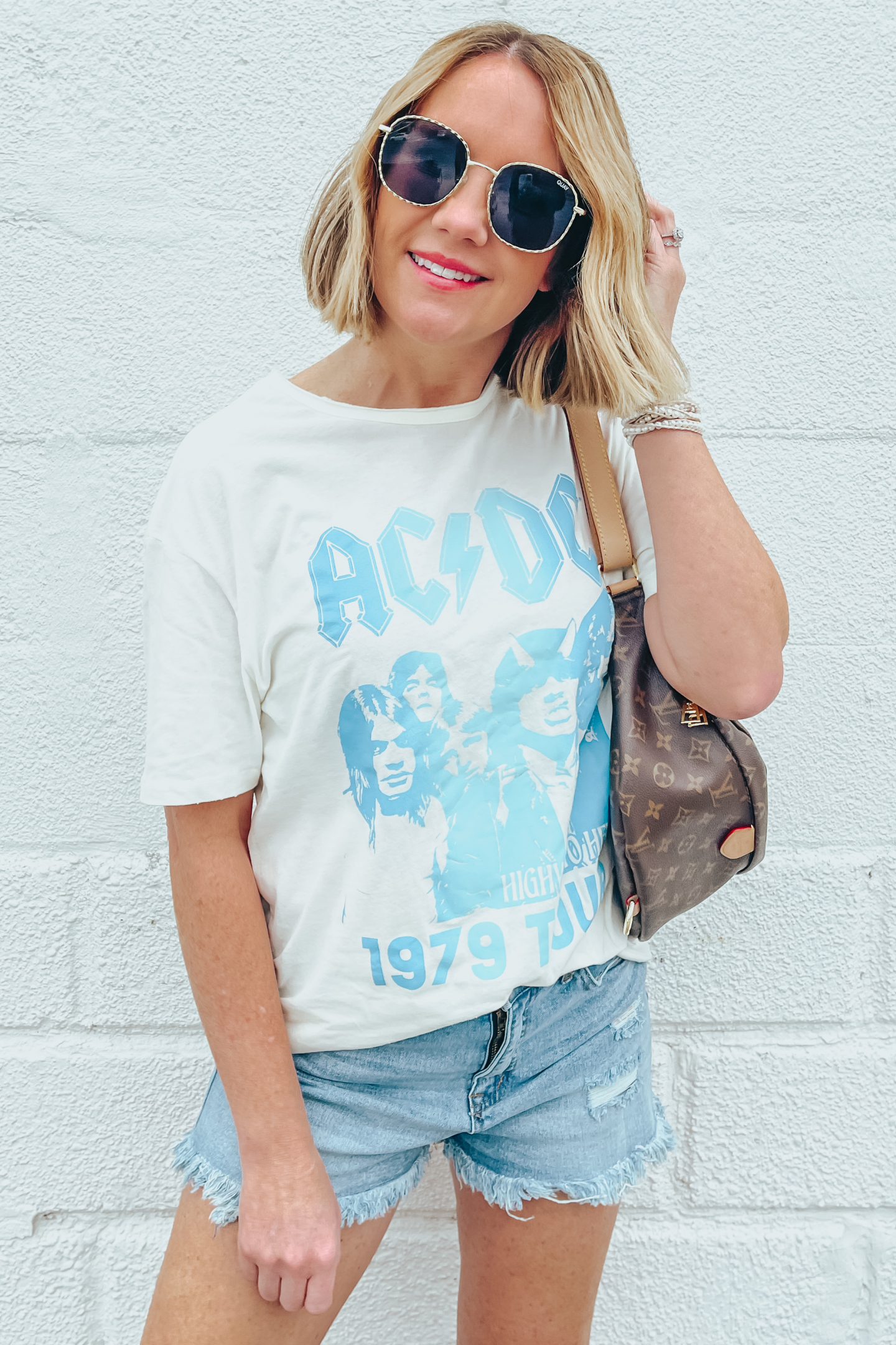 Five Ways to Style Denim Shorts, Scoop cutoff shorts, AC/DC graphic tee