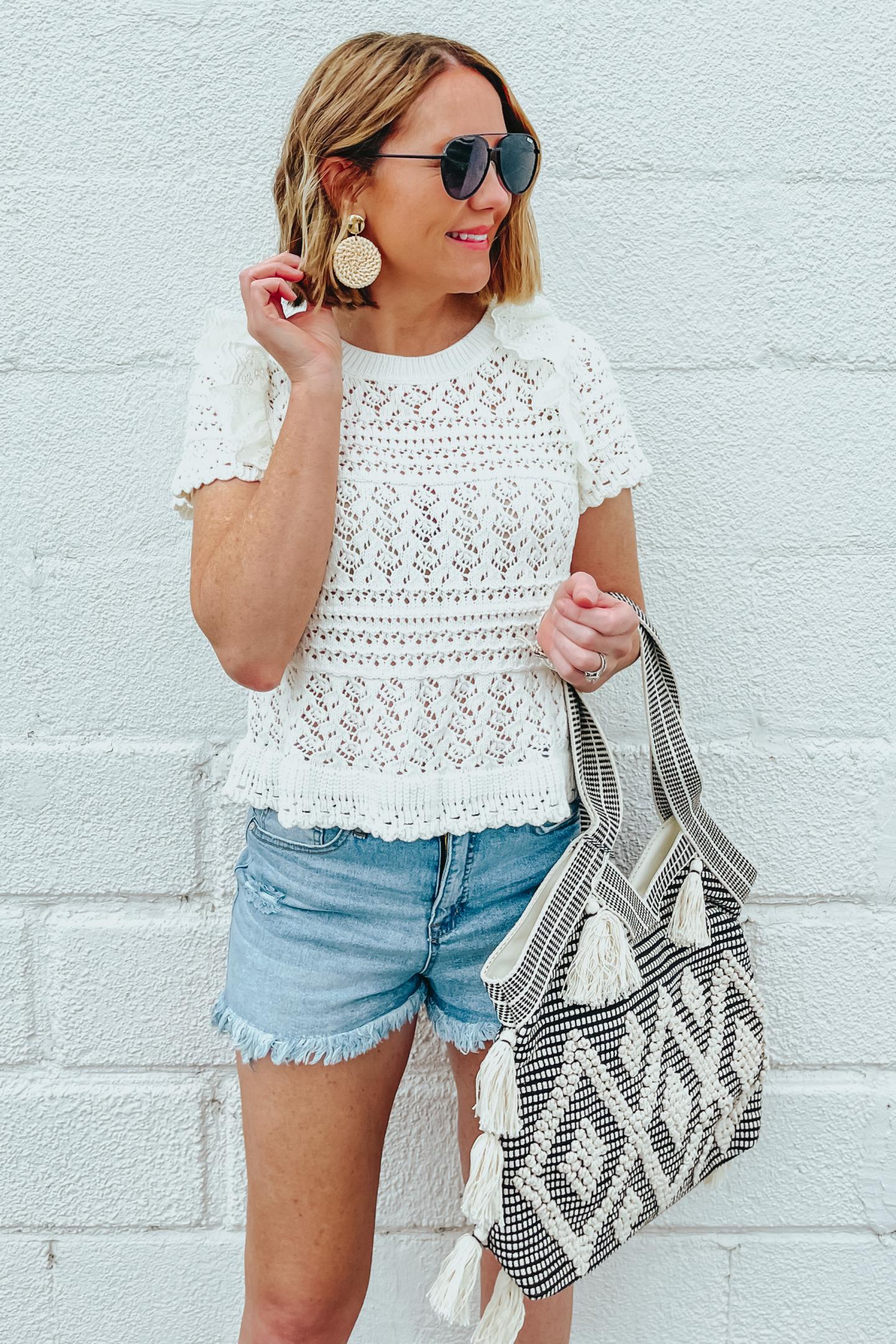 Five Ways to Style Denim Shorts, Scoop cutoff shorts, crochet eyelet ruffle sweater tee, Twig & Arrow woven tote
