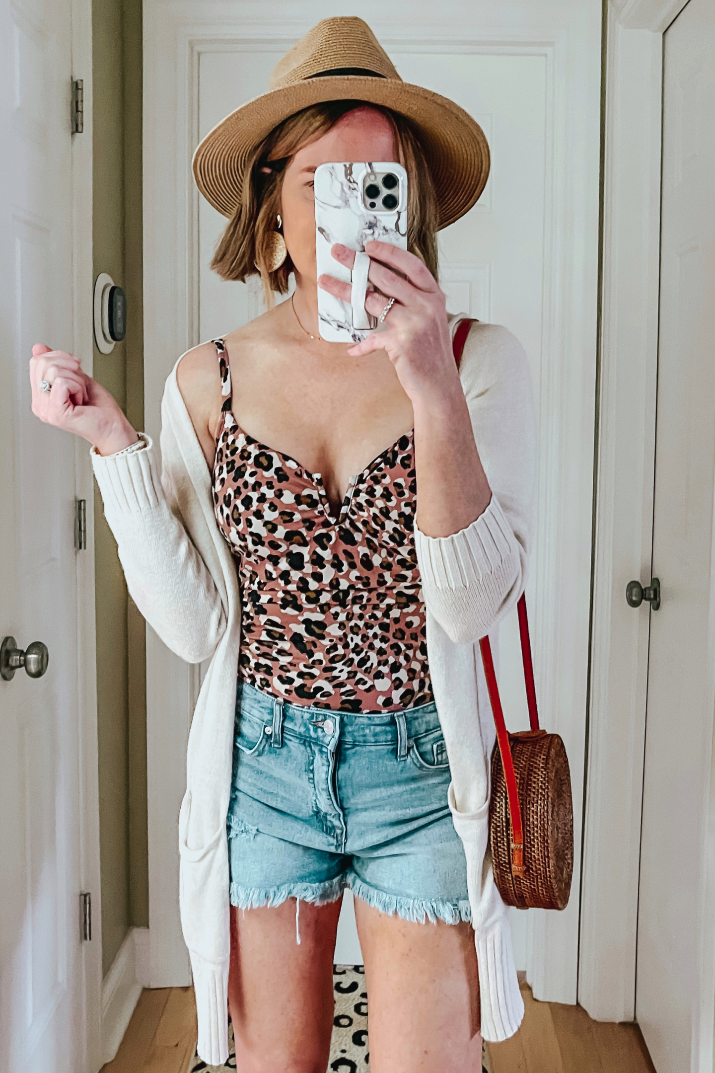 Five Ways to Style Denim Shorts, Time and Tru leopard one piece swimsuit