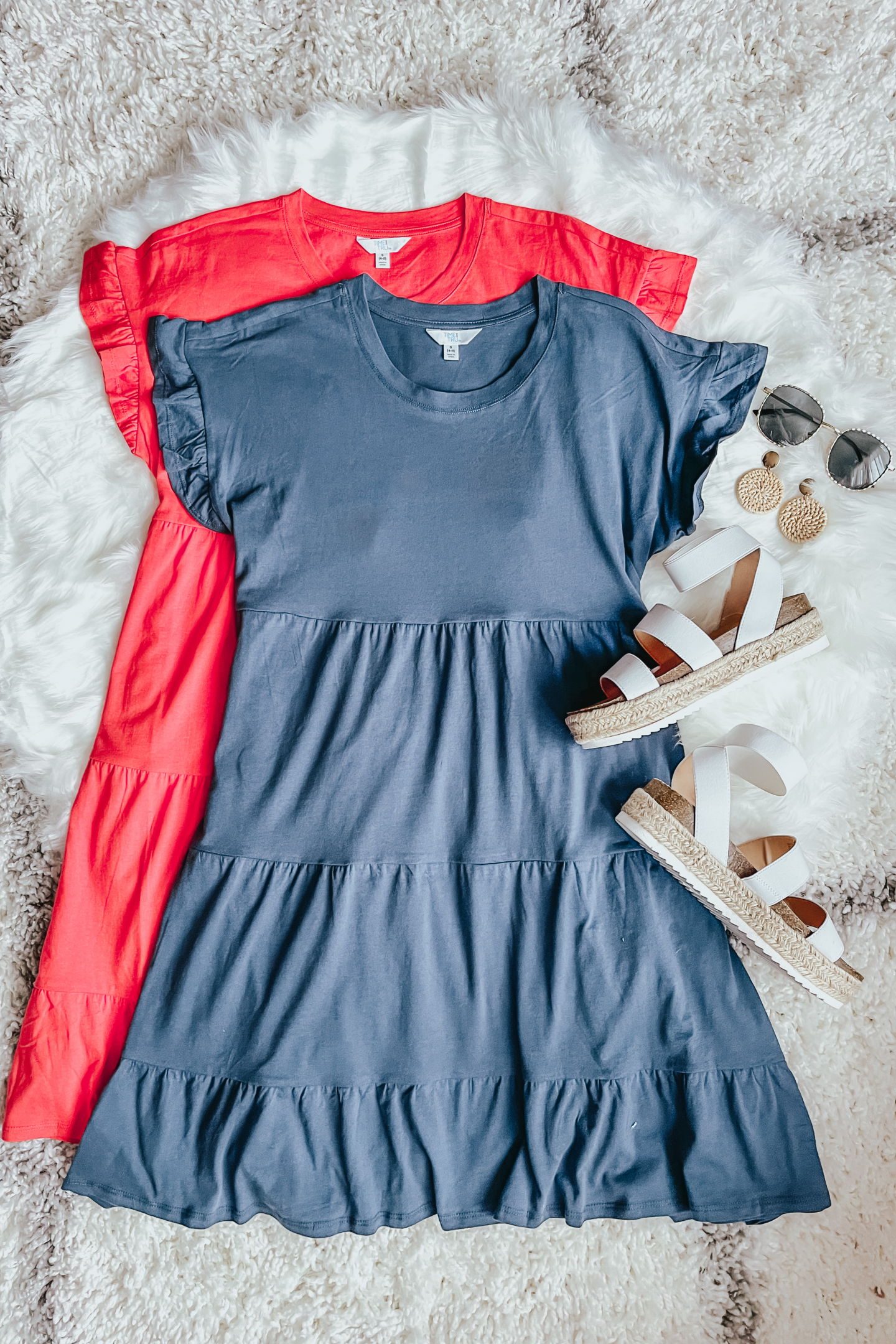 the cutest tiered ruffle sleeve tshirt dress, Time and Tru