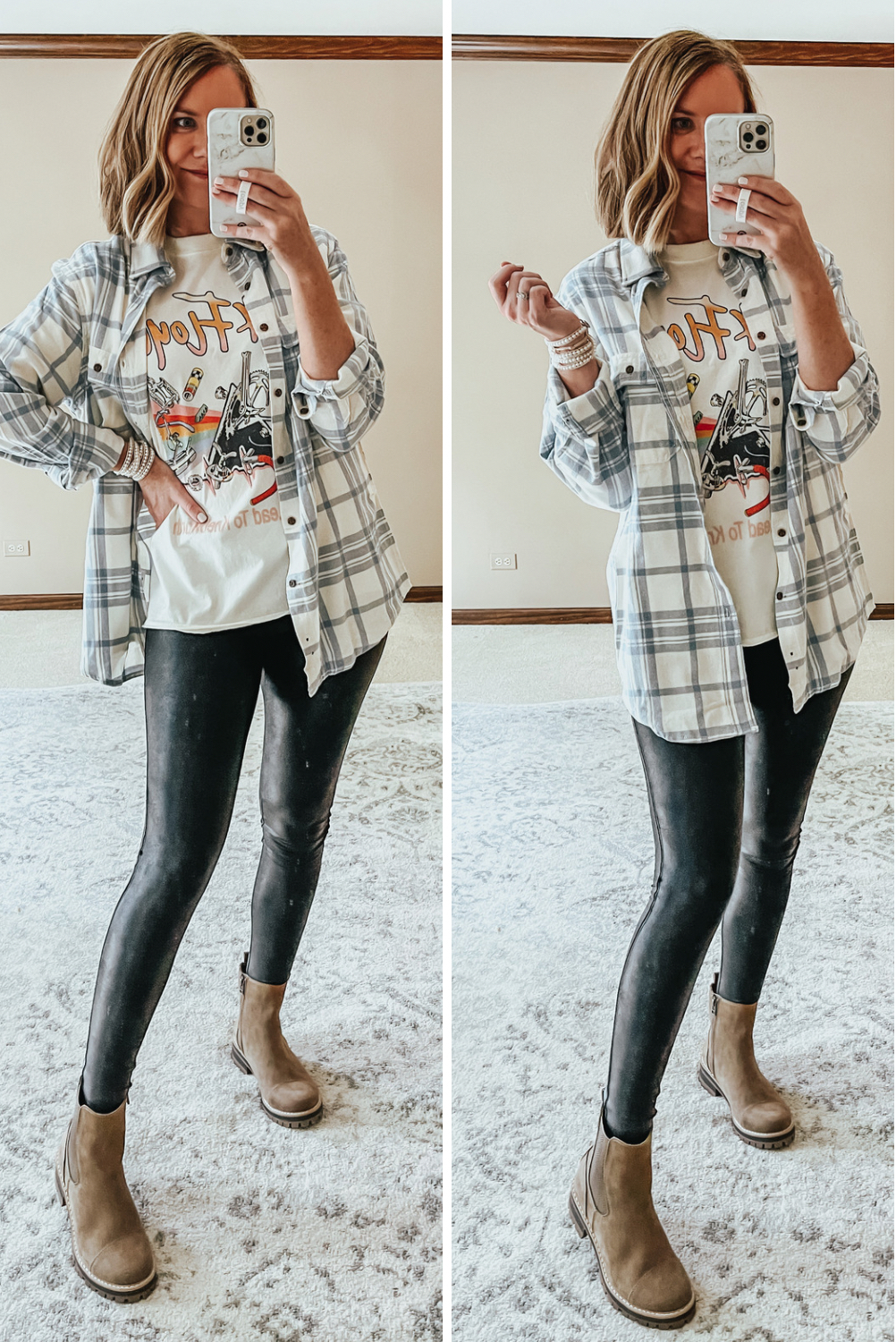 plaid flannel, graphic tee, faux leather leggings, Chelsea Boots