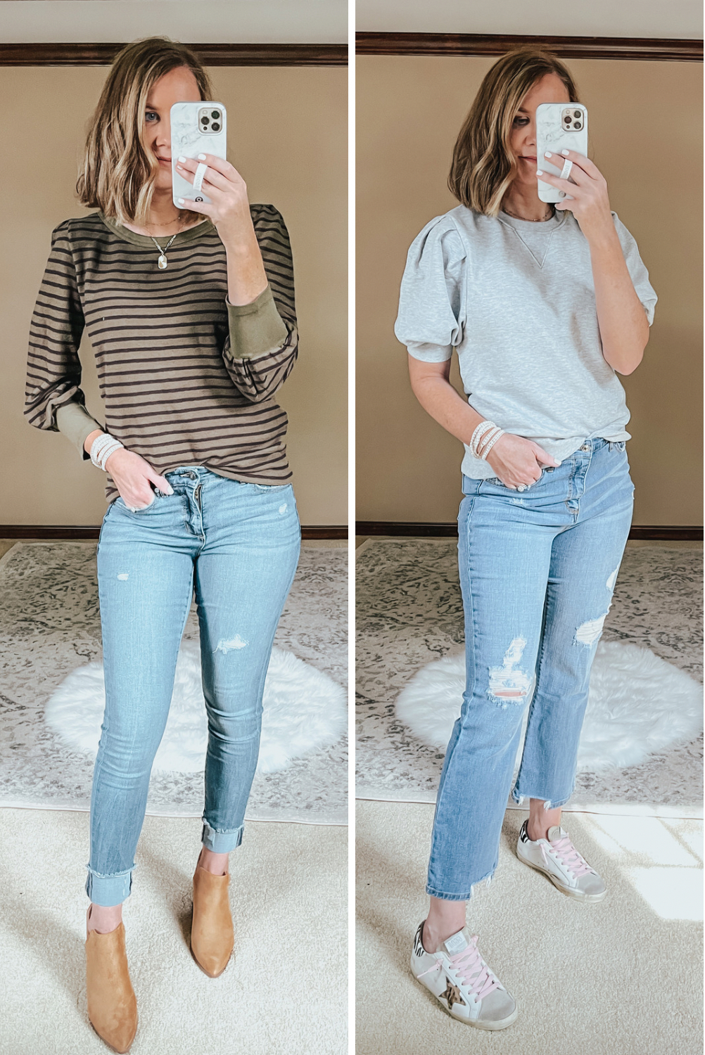 Walmart Fall Outfits Everything Under $30, puff sleeve casual tops