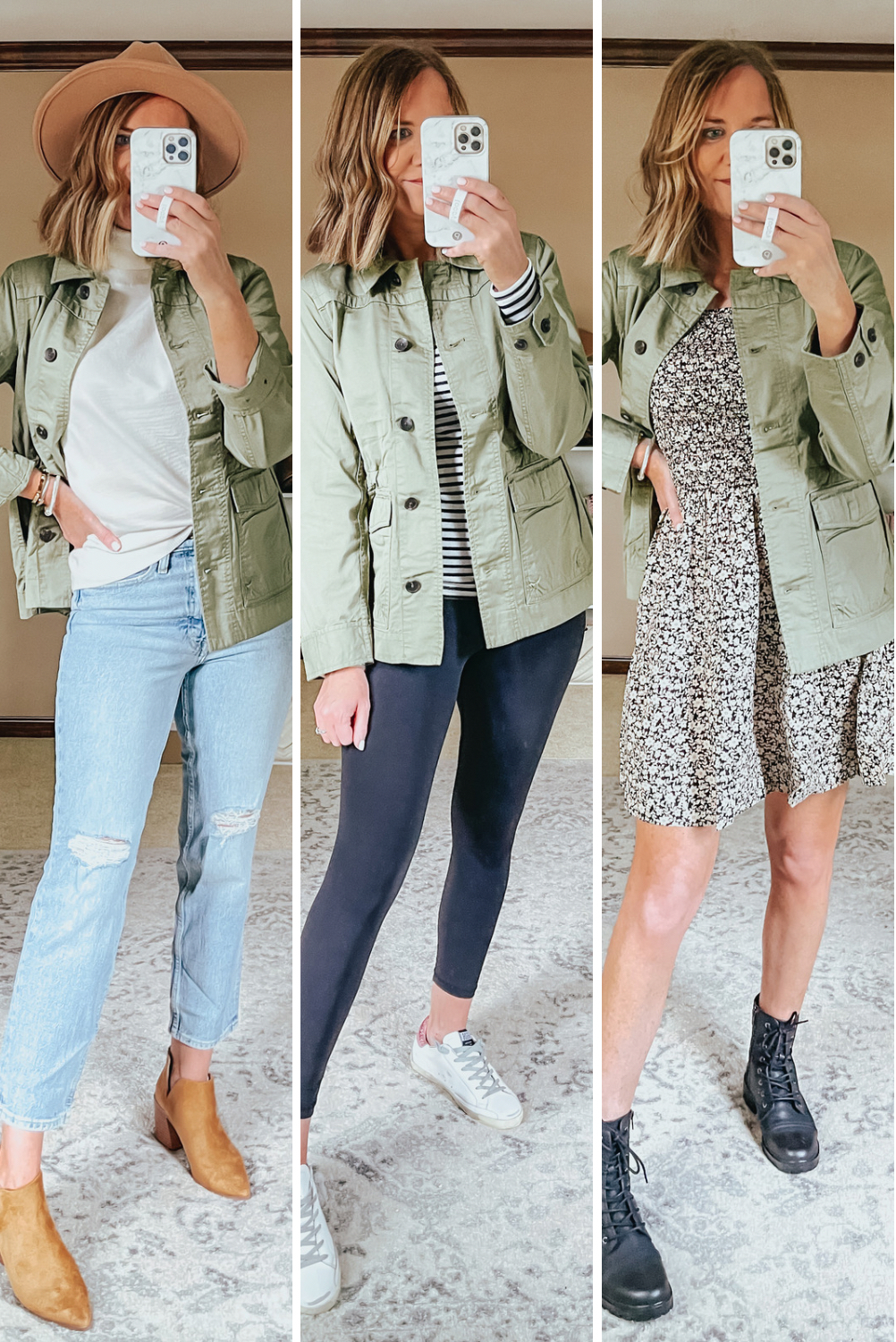 Affordable Summer to Fall Looks, 3 ways to wear a utility jacket